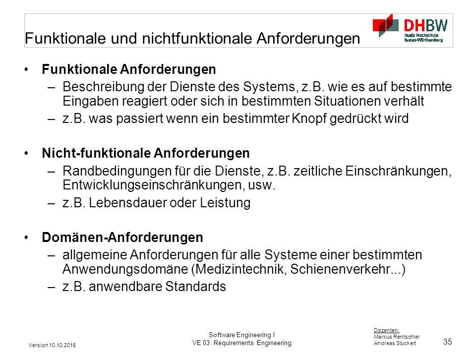 35 Dozenten: Markus Rentschler Andreas Stuckert Version 10.10.2015 Software Engineering I VE 03: Requirements Engineering Funktionale und nichtfunktio