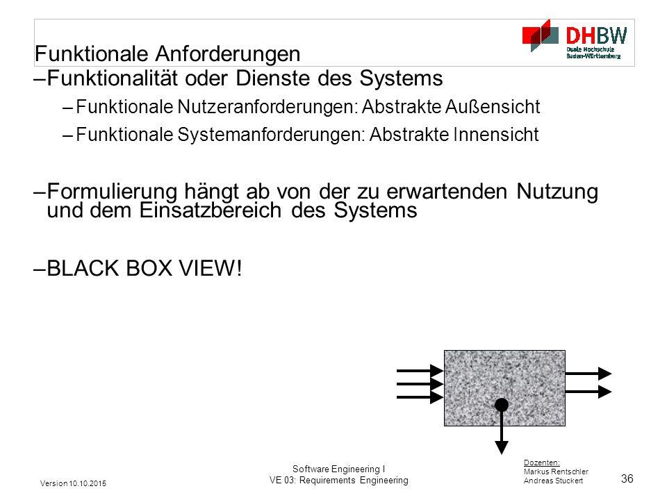 36 Dozenten: Markus Rentschler Andreas Stuckert Version 10.10.2015 Software Engineering I VE 03: Requirements Engineering Funktionale Anforderungen –F