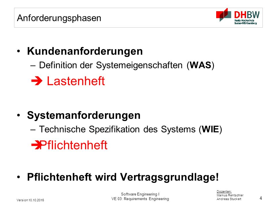 4 Dozenten: Markus Rentschler Andreas Stuckert Version 10.10.2015 Software Engineering I VE 03: Requirements Engineering Anforderungsphasen Kundenanforderungen –Definition der Systemeigenschaften (WAS)  Lastenheft Systemanforderungen –Technische Spezifikation des Systems (WIE)  Pflichtenheft Pflichtenheft wird Vertragsgrundlage!