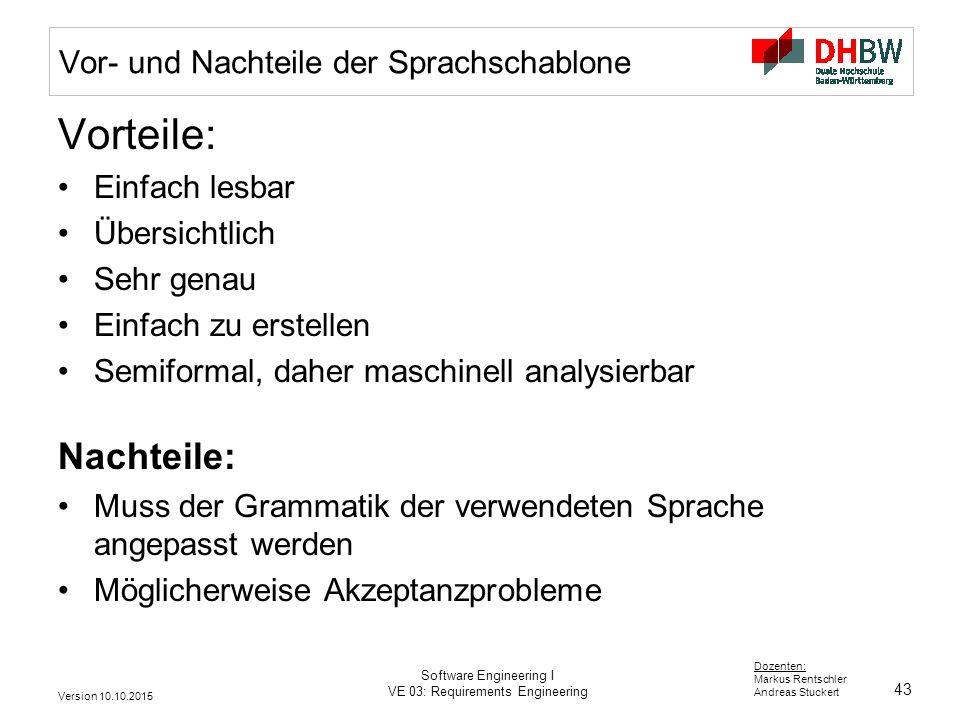 43 Dozenten: Markus Rentschler Andreas Stuckert Version 10.10.2015 Software Engineering I VE 03: Requirements Engineering Vor- und Nachteile der Sprac