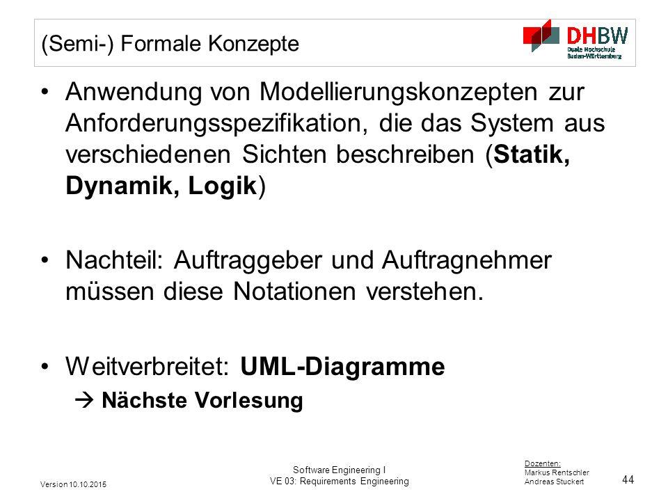 44 Dozenten: Markus Rentschler Andreas Stuckert Version 10.10.2015 Software Engineering I VE 03: Requirements Engineering (Semi-) Formale Konzepte Anw