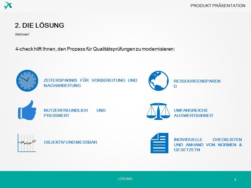 4-check hilft Ihnen, den Prozess für Qualitätsprüfungen zu modernisieren: LÖSUNG 2. DIE LÖSUNG Mehrwert 4 ZEITERSPARNIS FÜR VORBEREITUNG UND NACHARBEI