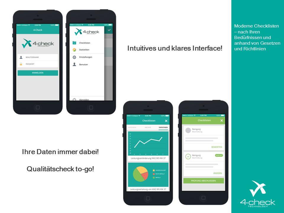 Intuitives und klares Interface! Ihre Daten immer dabei! Qualitätscheck to-go! Moderne Checklisten – nach Ihren Bedürfnissen und anhand von Gesetzen u