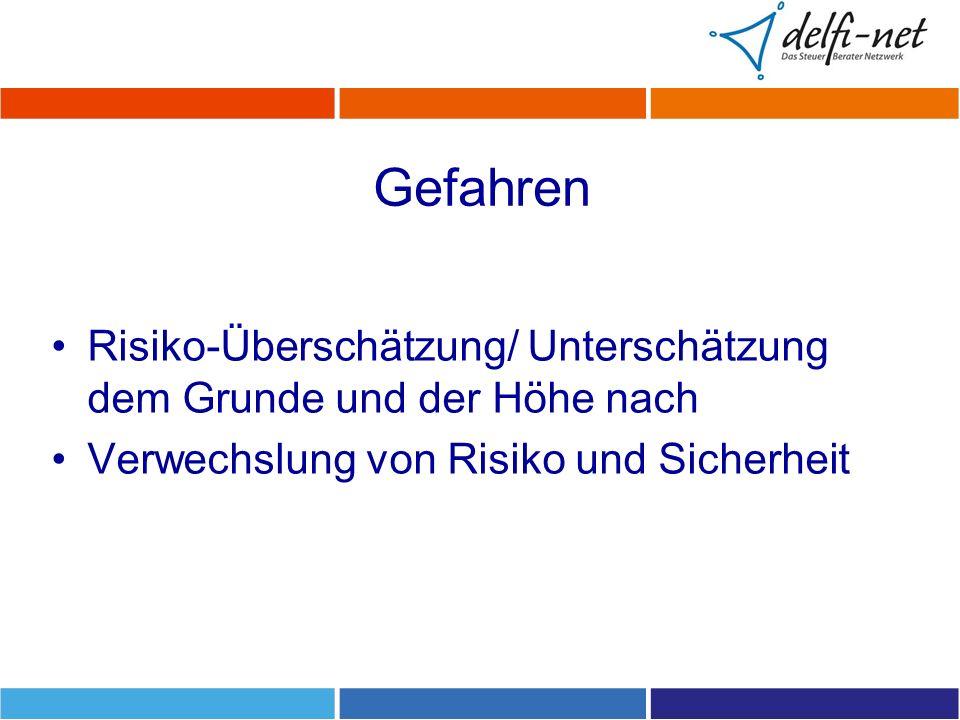 Gefahren Risiko-Überschätzung/ Unterschätzung dem Grunde und der Höhe nach Verwechslung von Risiko und Sicherheit