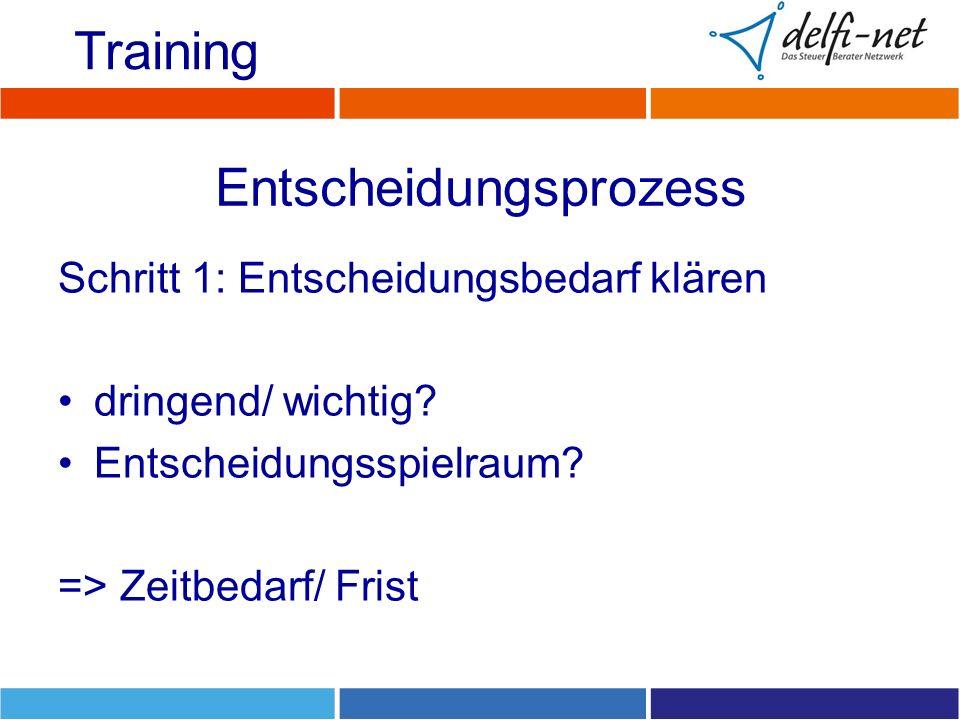 Entscheidungsprozess Schritt 1: Entscheidungsbedarf klären dringend/ wichtig? Entscheidungsspielraum? => Zeitbedarf/ Frist Training