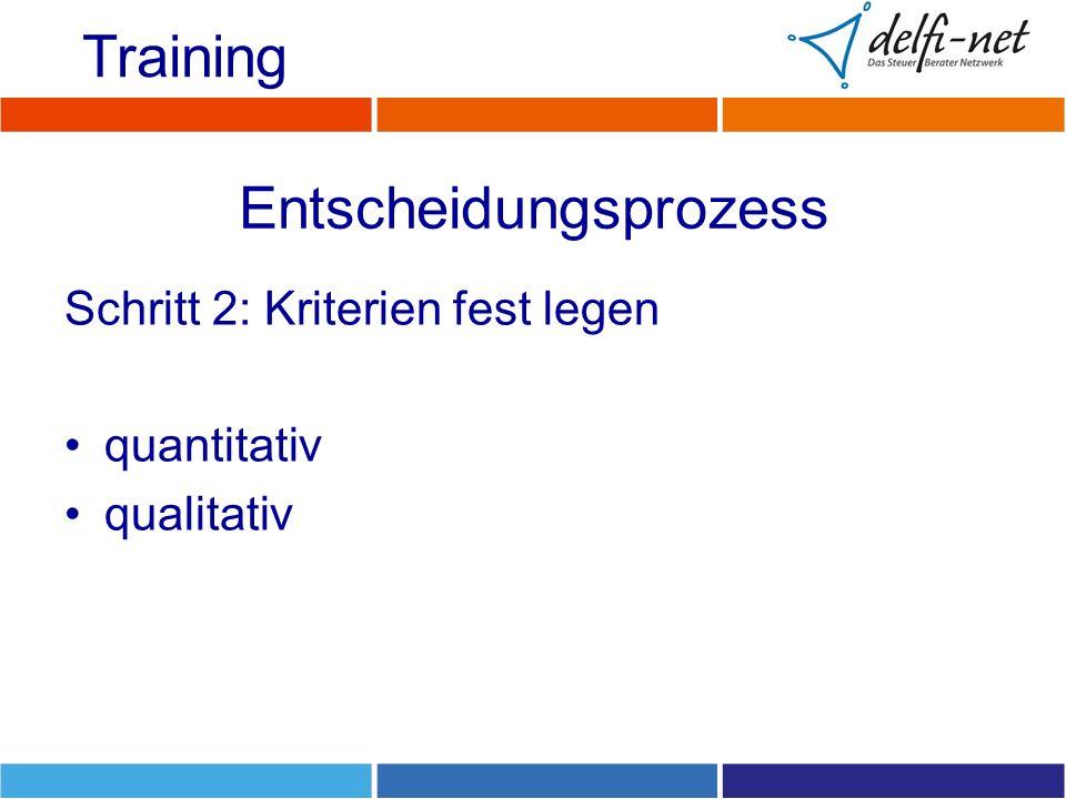 Entscheidungsprozess Schritt 2: Kriterien fest legen quantitativ qualitativ Training