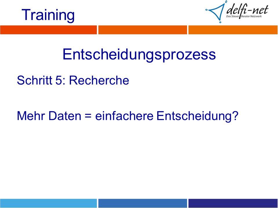 Entscheidungsprozess Schritt 5: Recherche Mehr Daten = einfachere Entscheidung? Training