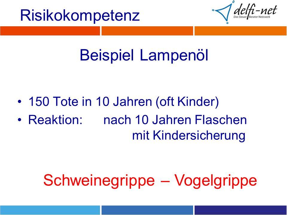 Beispiel Lampenöl 150 Tote in 10 Jahren (oft Kinder) Reaktion: nach 10 Jahren Flaschen mit Kindersicherung Risikokompetenz Schweinegrippe – Vogelgrippe