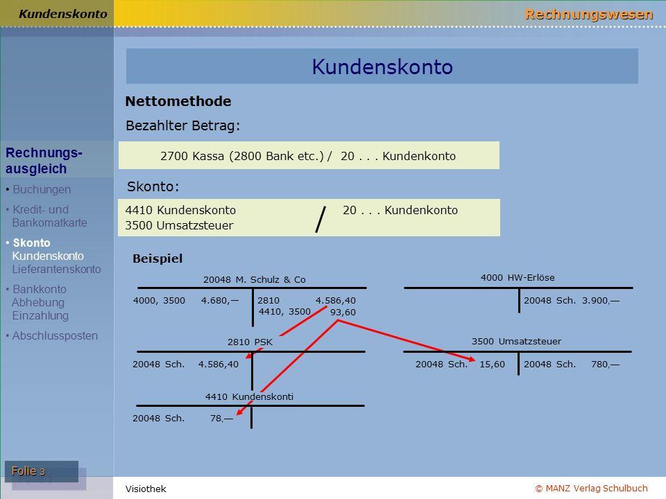 © MANZ Verlag Schulbuch Rechnungswesen Visiothek Folie 3 Kundenskonto 2700 Kassa (2800 Bank etc.) / 20...