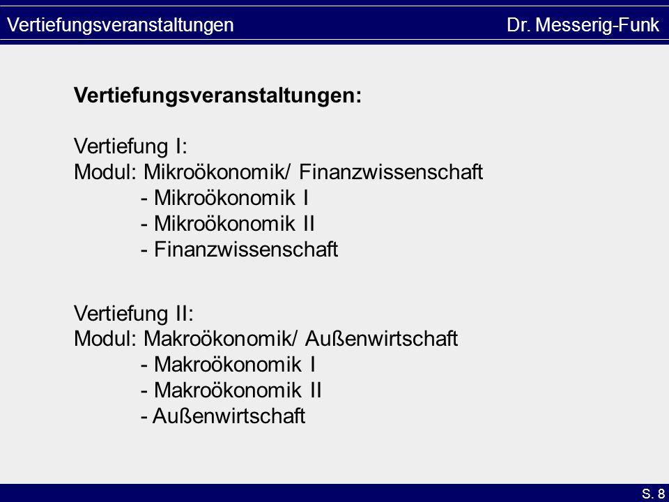 S. 8 Vertiefungsveranstaltungen Dr. Messerig-Funk Vertiefungsveranstaltungen: Vertiefung I: Modul: Mikroökonomik/ Finanzwissenschaft - Mikroökonomik I