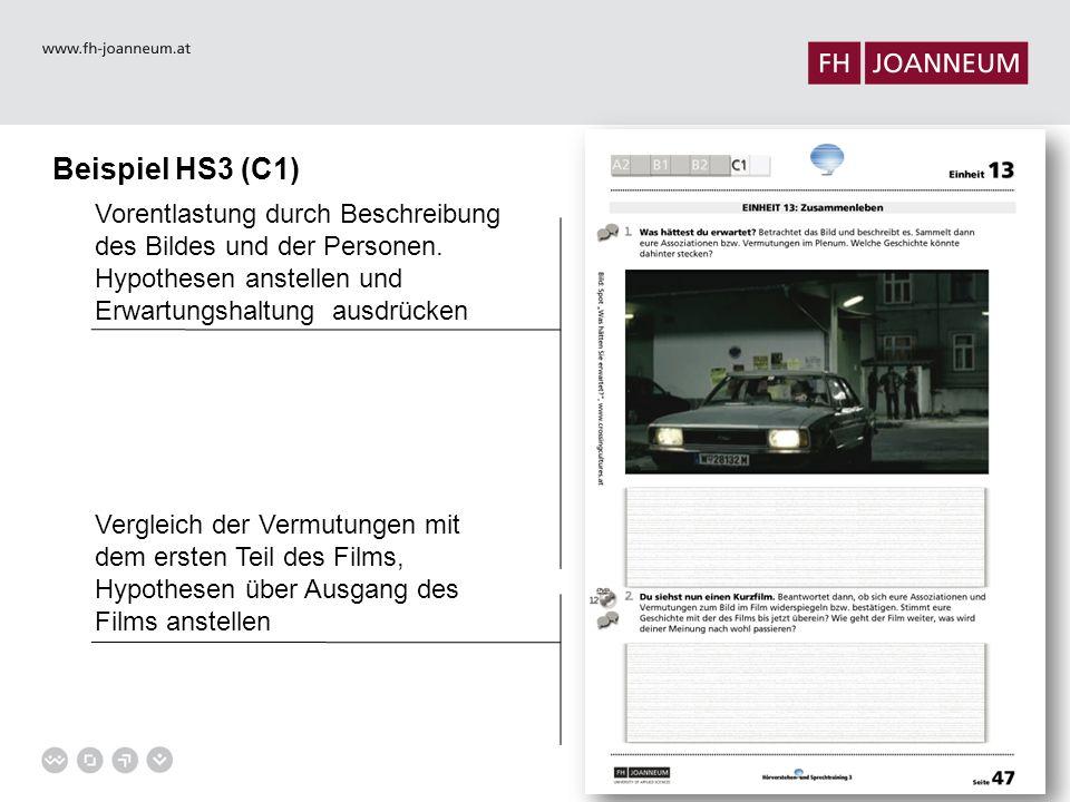 Beispiel HS3 (C1) Vorentlastung durch Beschreibung des Bildes und der Personen.