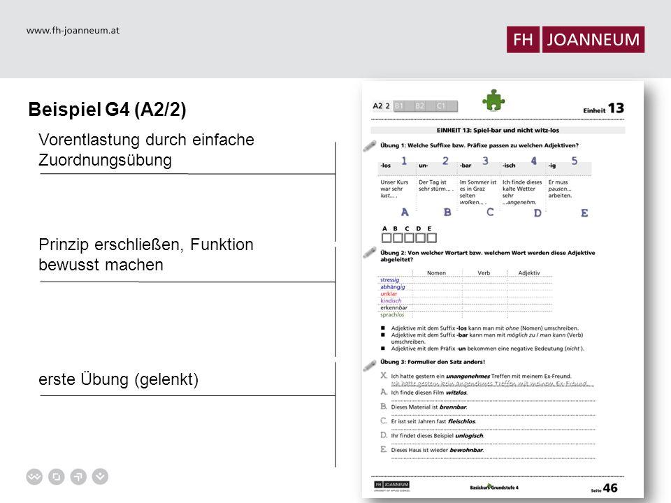 Beispiel G4 (A2/2) Vorentlastung durch einfache Zuordnungsübung Prinzip erschließen, Funktion bewusst machen erste Übung (gelenkt)