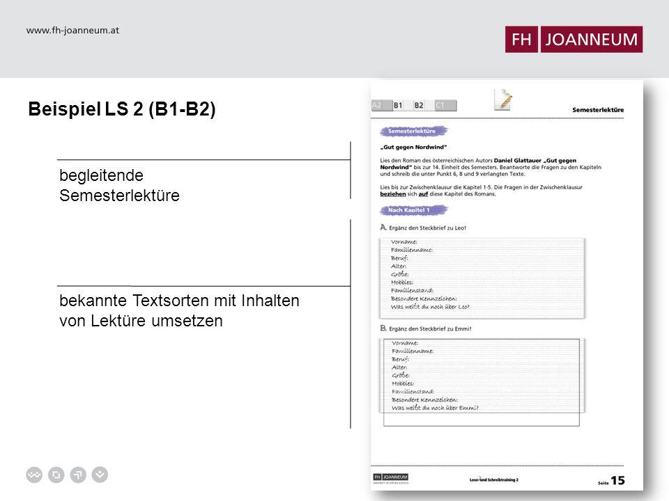 Beispiel LS 2 (B1-B2) bekannte Textsorten mit Inhalten von Lektüre umsetzen begleitende Semesterlektüre