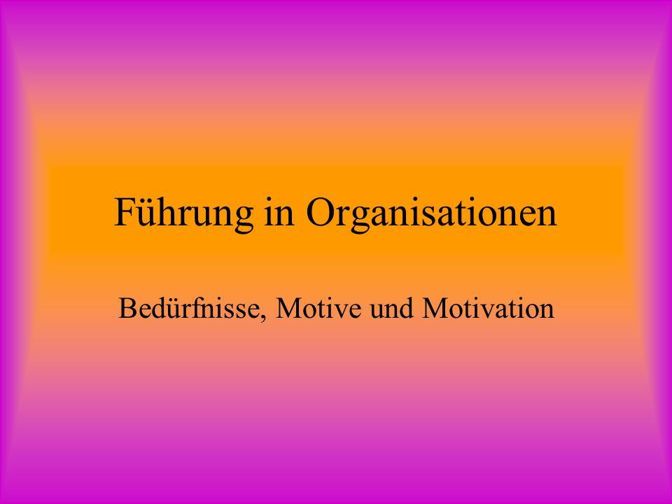 Führung in Organisationen Bedürfnisse, Motive und Motivation