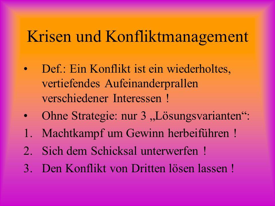 Krisen und Konfliktmanagement Def.: Ein Konflikt ist ein wiederholtes, vertiefendes Aufeinanderprallen verschiedener Interessen .