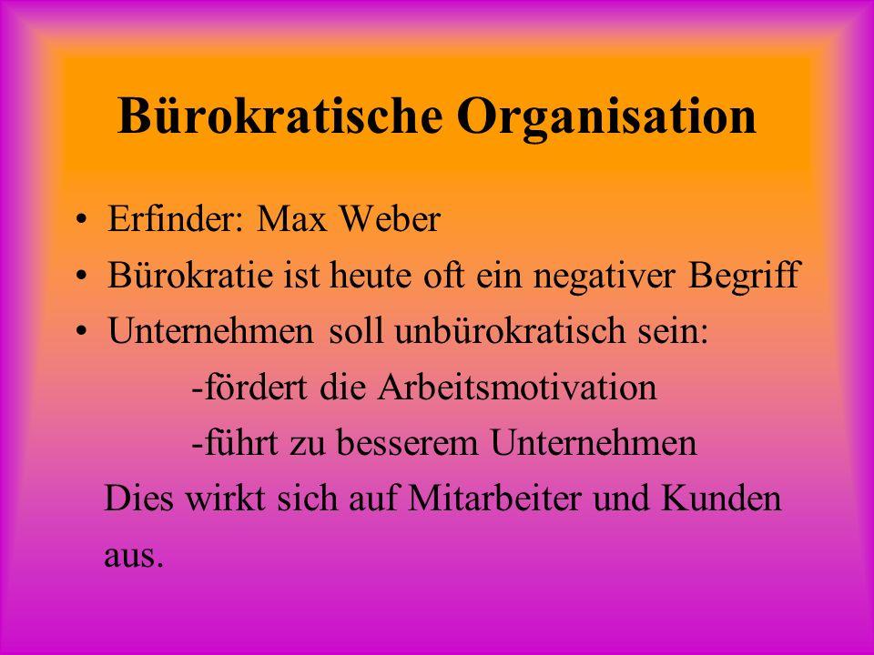 Bürokratische Organisation Erfinder: Max Weber Bürokratie ist heute oft ein negativer Begriff Unternehmen soll unbürokratisch sein: -fördert die Arbeitsmotivation -führt zu besserem Unternehmen Dies wirkt sich auf Mitarbeiter und Kunden aus.