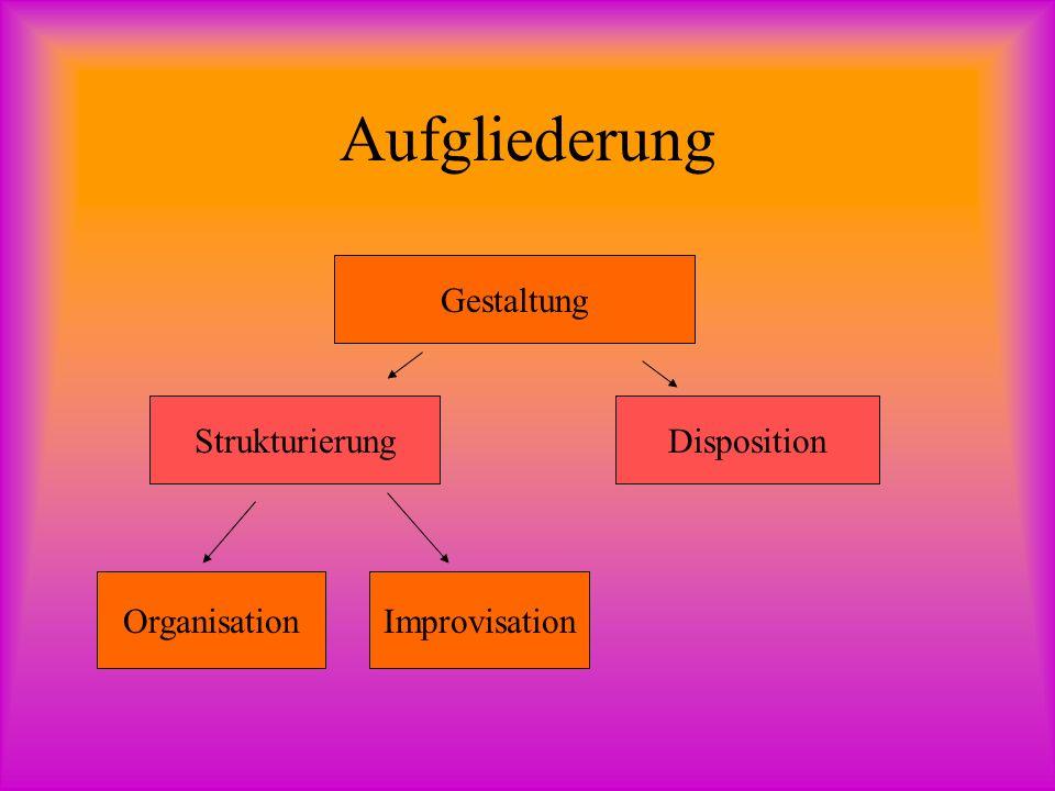 Aufgliederung Gestaltung StrukturierungDisposition OrganisationImprovisation