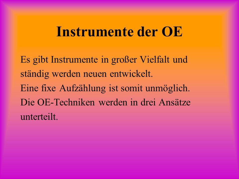 Instrumente der OE Es gibt Instrumente in großer Vielfalt und ständig werden neuen entwickelt.
