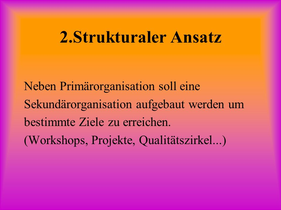 2.Strukturaler Ansatz Neben Primärorganisation soll eine Sekundärorganisation aufgebaut werden um bestimmte Ziele zu erreichen.
