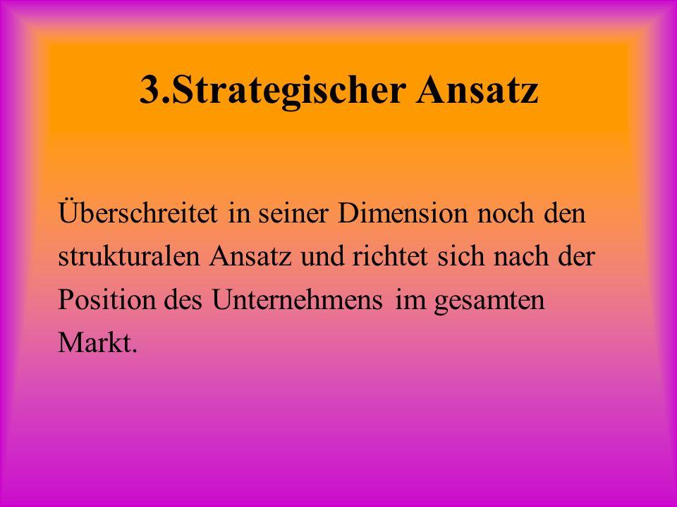 3.Strategischer Ansatz Überschreitet in seiner Dimension noch den strukturalen Ansatz und richtet sich nach der Position des Unternehmens im gesamten Markt.