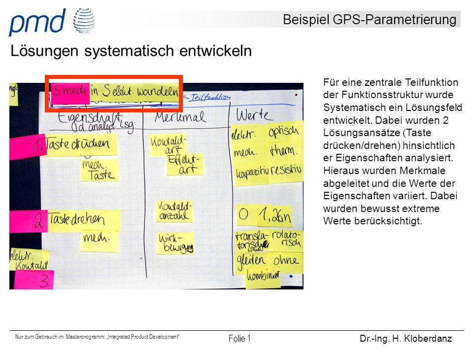 """Nur zum Gebrauch im Masterprogramm: """"Integrated Product Development"""" Folie 1 Dr.-Ing. H. Kloberdanz Beispiel GPS-Parametrierung Lösungen systematisch"""