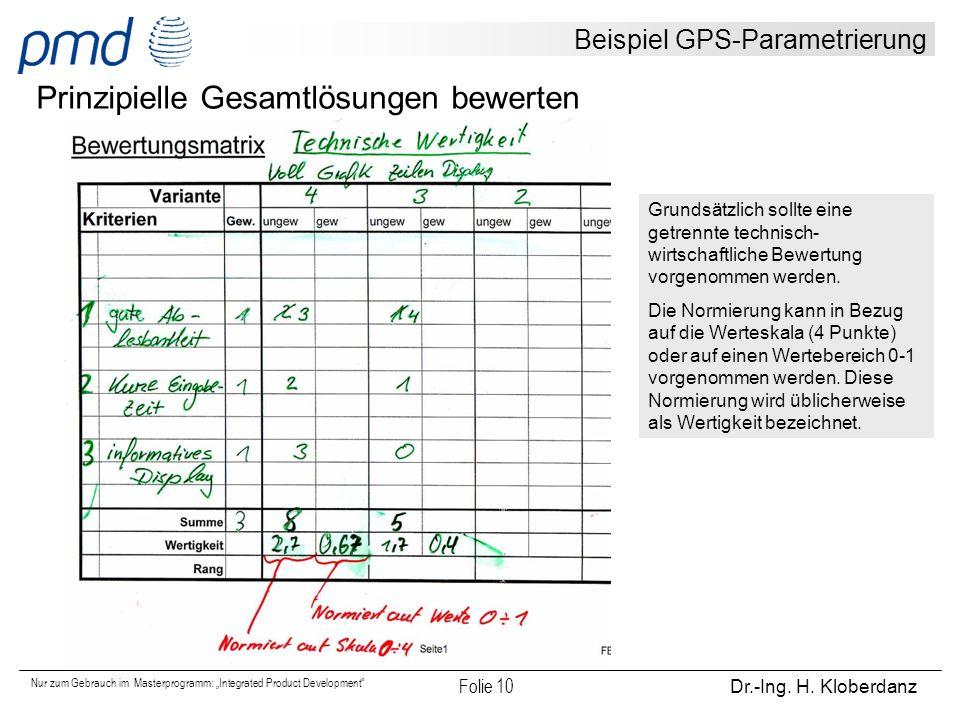 """Nur zum Gebrauch im Masterprogramm: """"Integrated Product Development"""" Folie 10 Dr.-Ing. H. Kloberdanz Beispiel GPS-Parametrierung Prinzipielle Gesamtlö"""