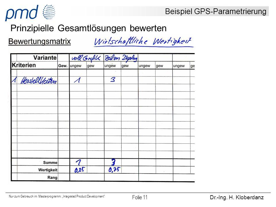 """Nur zum Gebrauch im Masterprogramm: """"Integrated Product Development"""" Folie 11 Dr.-Ing. H. Kloberdanz Beispiel GPS-Parametrierung Prinzipielle Gesamtlö"""