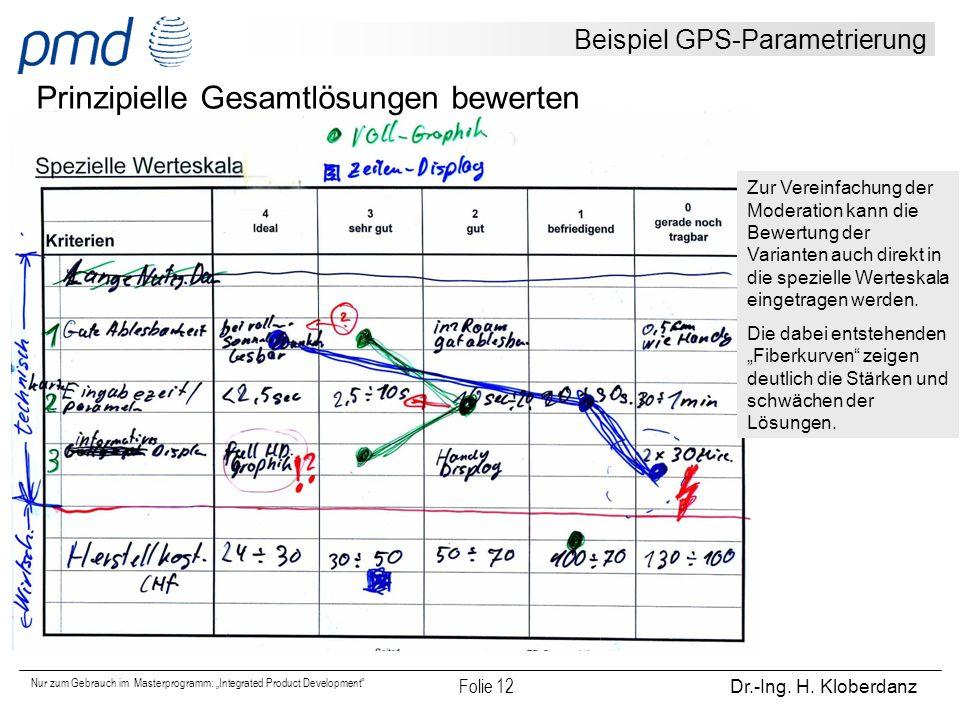 """Nur zum Gebrauch im Masterprogramm: """"Integrated Product Development"""" Folie 12 Dr.-Ing. H. Kloberdanz Beispiel GPS-Parametrierung Prinzipielle Gesamtlö"""