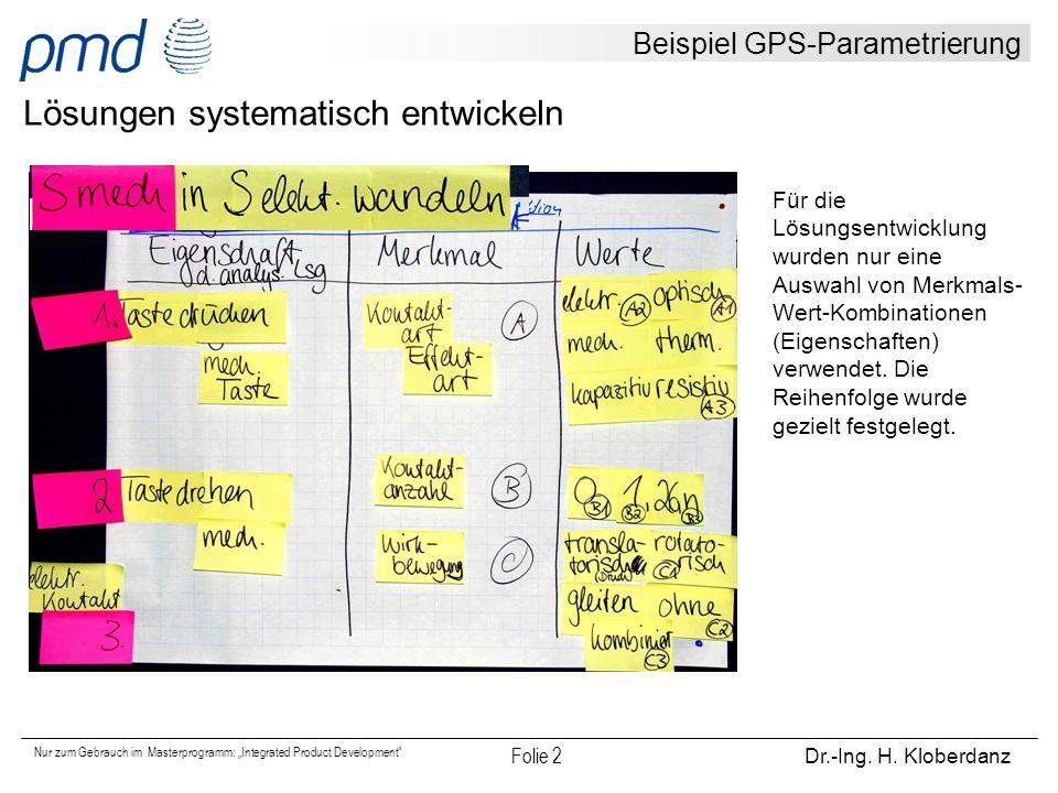 """Nur zum Gebrauch im Masterprogramm: """"Integrated Product Development"""" Folie 2 Dr.-Ing. H. Kloberdanz Beispiel GPS-Parametrierung Lösungen systematisch"""