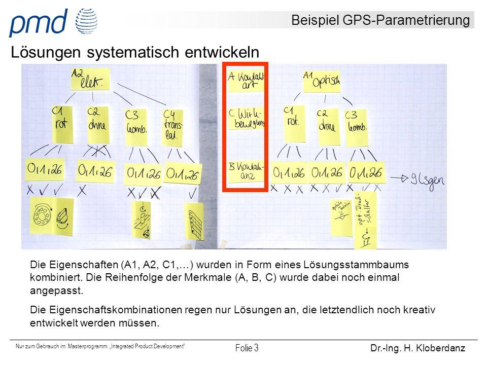 """Nur zum Gebrauch im Masterprogramm: """"Integrated Product Development"""" Folie 3 Dr.-Ing. H. Kloberdanz Beispiel GPS-Parametrierung Lösungen systematisch"""