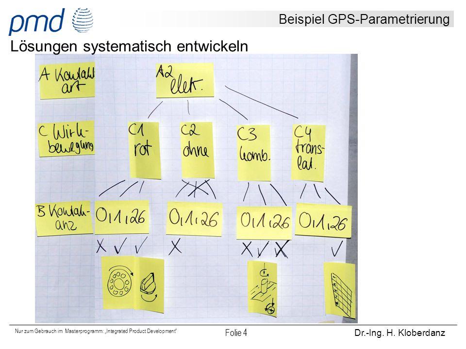 """Nur zum Gebrauch im Masterprogramm: """"Integrated Product Development"""" Folie 4 Dr.-Ing. H. Kloberdanz Beispiel GPS-Parametrierung Lösungen systematisch"""