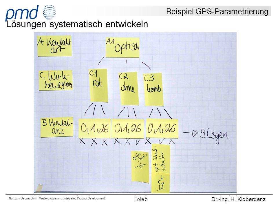"""Nur zum Gebrauch im Masterprogramm: """"Integrated Product Development"""" Folie 5 Dr.-Ing. H. Kloberdanz Beispiel GPS-Parametrierung Lösungen systematisch"""