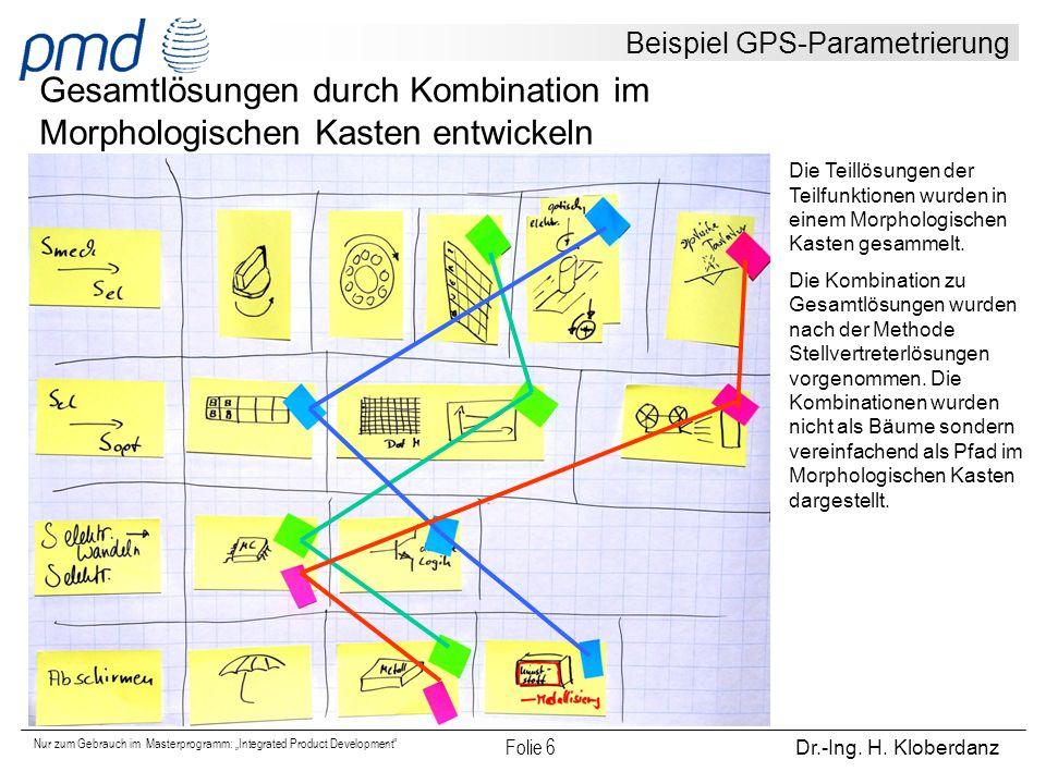 """Nur zum Gebrauch im Masterprogramm: """"Integrated Product Development"""" Folie 6 Dr.-Ing. H. Kloberdanz Beispiel GPS-Parametrierung Gesamtlösungen durch K"""