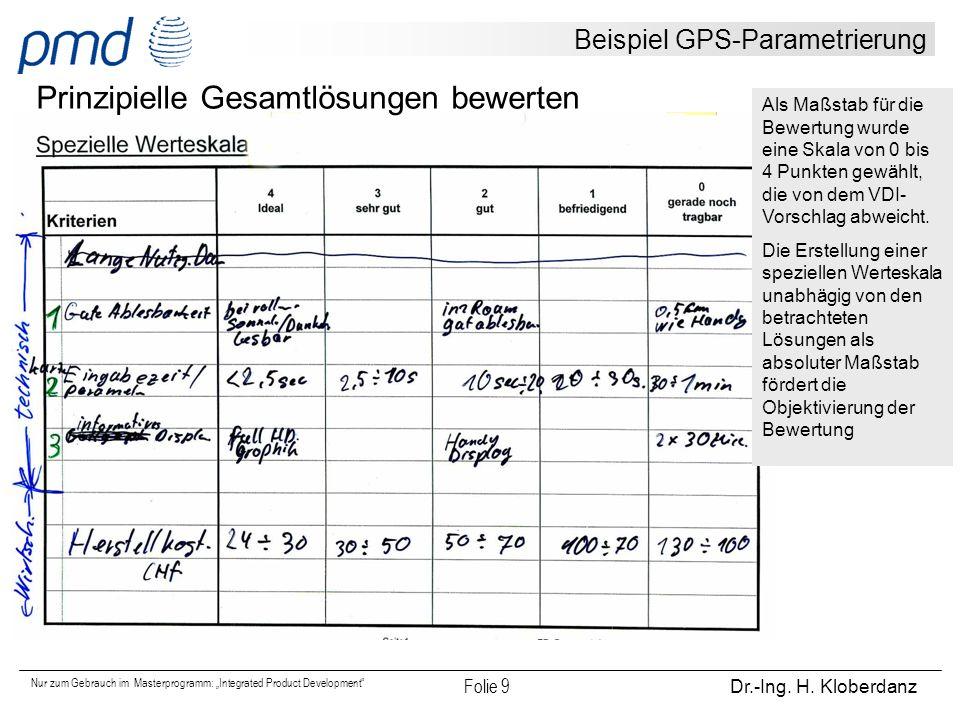 """Nur zum Gebrauch im Masterprogramm: """"Integrated Product Development"""" Folie 9 Dr.-Ing. H. Kloberdanz Beispiel GPS-Parametrierung Prinzipielle Gesamtlös"""