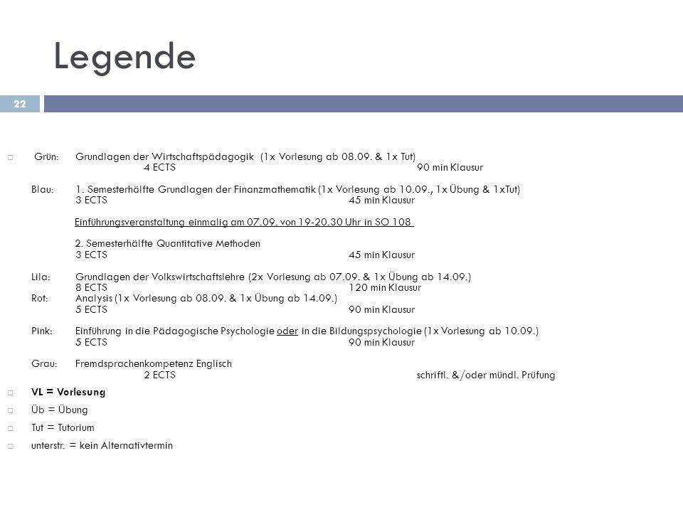 Legende 22  Grün:Grundlagen der Wirtschaftspädagogik (1x Vorlesung ab 08.09. & 1x Tut) 4 ECTS 90 min Klausur Blau:1. Semesterhälfte Grundlagen der Fi