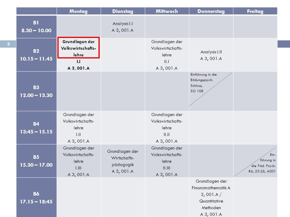 3 MontagDienstagMittwochDonnerstagFreitag B1 8.30 – 10.00 Analysis I.I A 3, 001.A B2 10.15 – 11.45 Grundlagen der Volkswirtschafts- lehre I.I A 3, 001