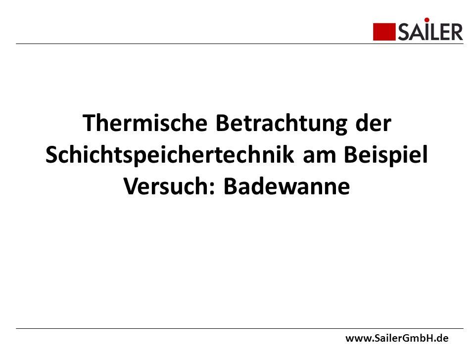 Thermische Betrachtung der Schichtspeichertechnik am Beispiel Versuch: Badewanne www.SailerGmbH.de