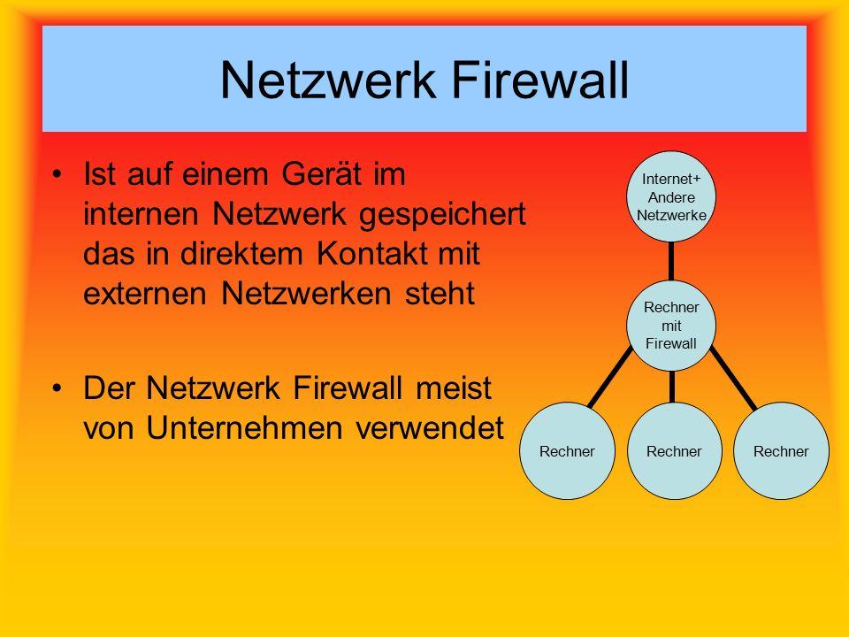 Netzwerk Firewall Ist auf einem Gerät im internen Netzwerk gespeichert das in direktem Kontakt mit externen Netzwerken steht Der Netzwerk Firewall meist von Unternehmen verwendet Rechner mit Firewall Internet+ Andere Netzwerke Rechner