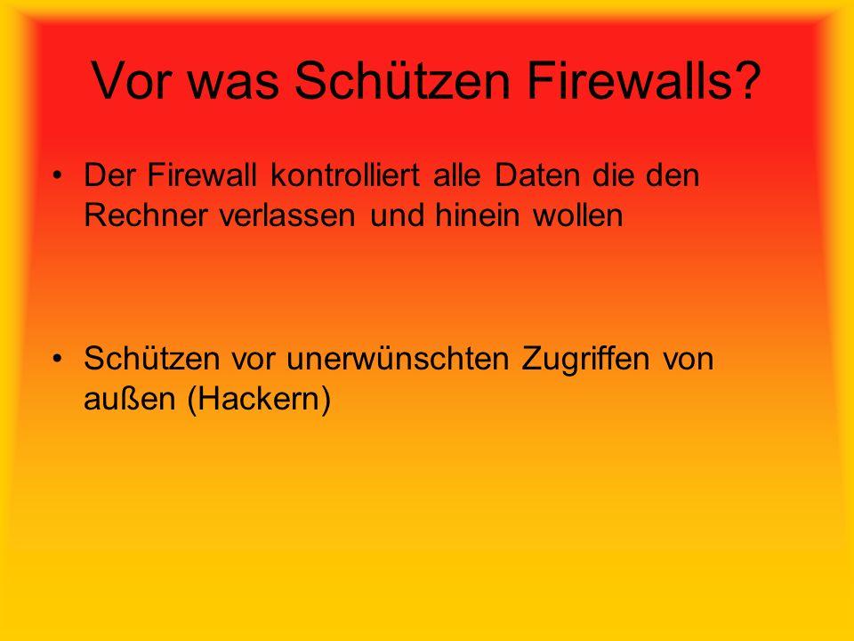 Vor was Schützen Firewalls? Der Firewall kontrolliert alle Daten die den Rechner verlassen und hinein wollen Schützen vor unerwünschten Zugriffen von