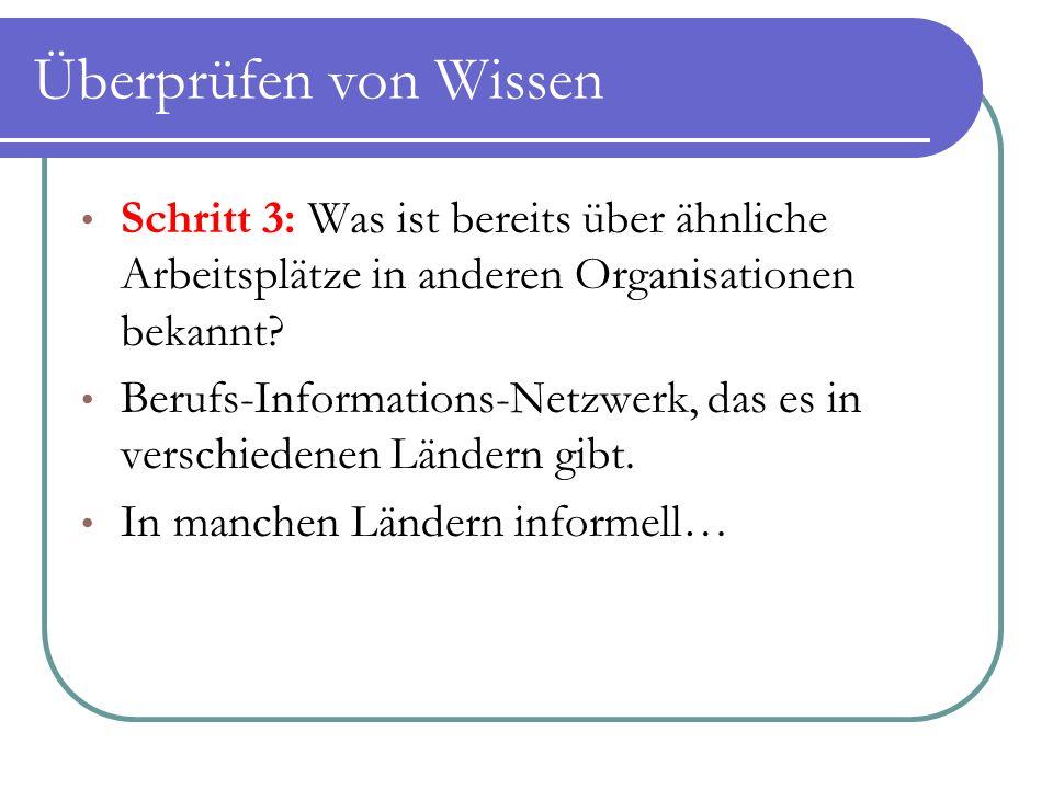 Überprüfen von Wissen Schritt 3: Was ist bereits über ähnliche Arbeitsplätze in anderen Organisationen bekannt? Berufs-Informations-Netzwerk, das es i