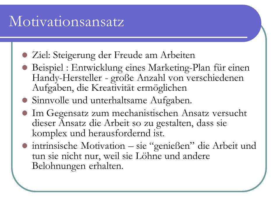 Motivationsansatz Ziel: Steigerung der Freude am Arbeiten Beispiel : Entwicklung eines Marketing-Plan für einen Handy-Hersteller - große Anzahl von ve