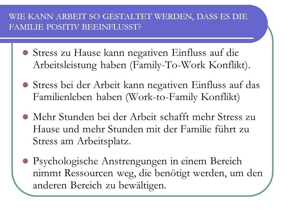 WIE KANN ARBEIT SO GESTALTET WERDEN, DASS ES DIE FAMILIE POSITIV BEEINFLUSST? Stress zu Hause kann negativen Einfluss auf die Arbeitsleistung haben (F
