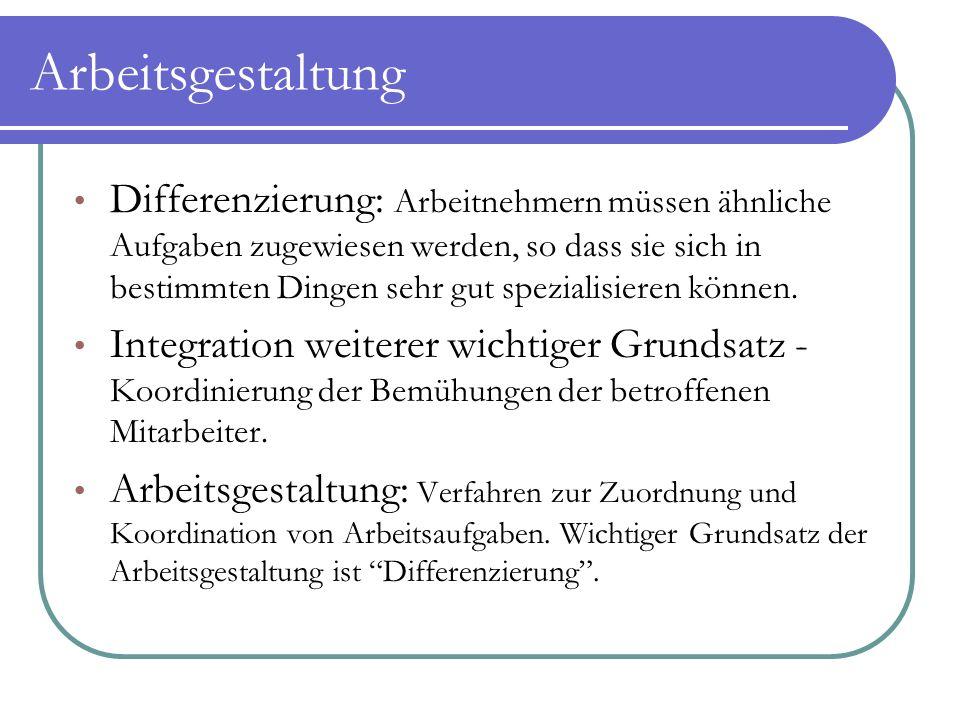 Strategische Arbeitsgestaltung Verwendet sowohl Differenzierung als auch Integration, um festzustellen, wer was macht.