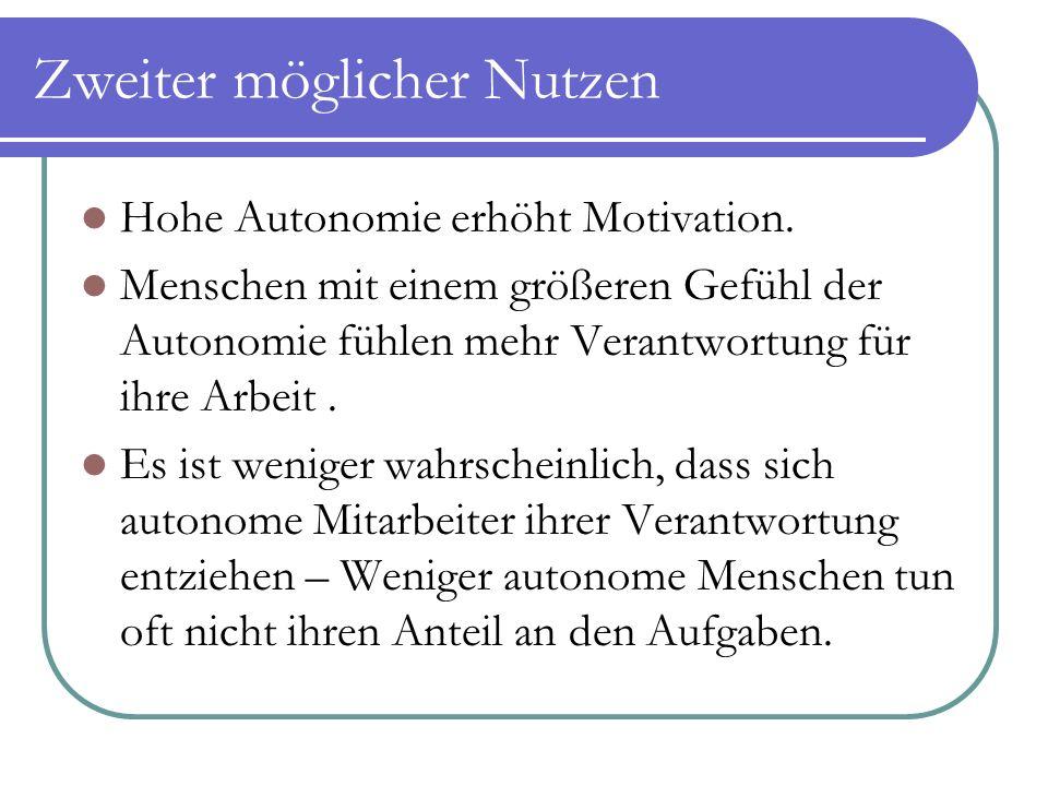 Zweiter möglicher Nutzen Hohe Autonomie erhöht Motivation. Menschen mit einem größeren Gefühl der Autonomie fühlen mehr Verantwortung für ihre Arbeit.