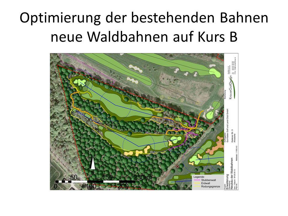 Optimierung der bestehenden Bahnen neue Waldbahnen auf Kurs B
