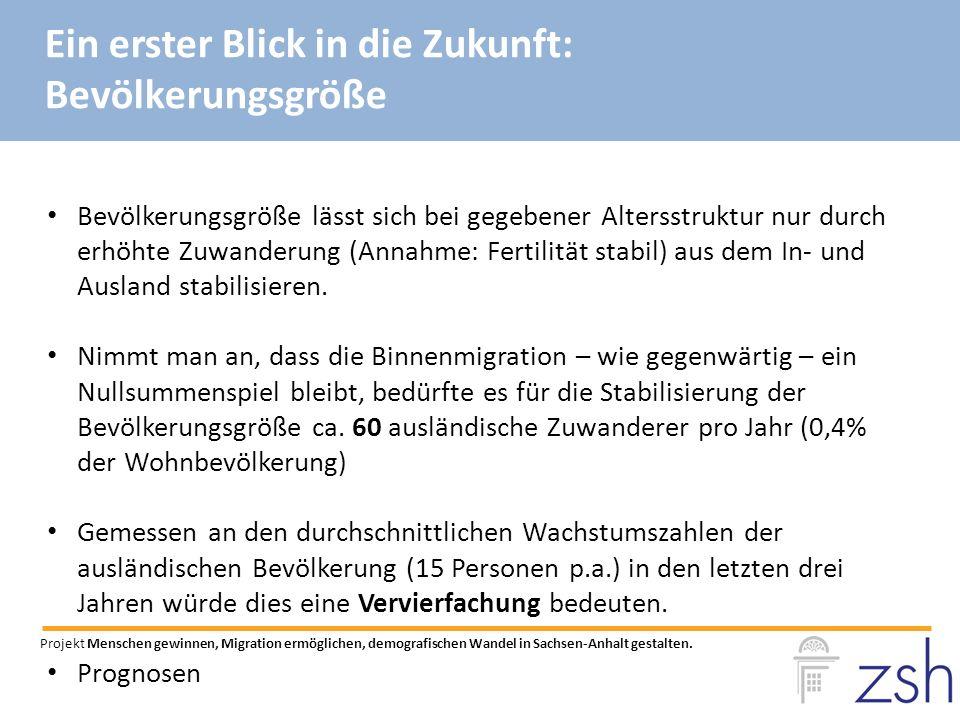 Bevölkerungsgröße lässt sich bei gegebener Altersstruktur nur durch erhöhte Zuwanderung (Annahme: Fertilität stabil) aus dem In- und Ausland stabilisieren.