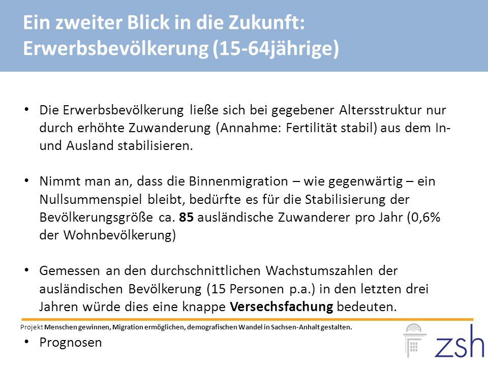 Die Erwerbsbevölkerung ließe sich bei gegebener Altersstruktur nur durch erhöhte Zuwanderung (Annahme: Fertilität stabil) aus dem In- und Ausland stabilisieren.