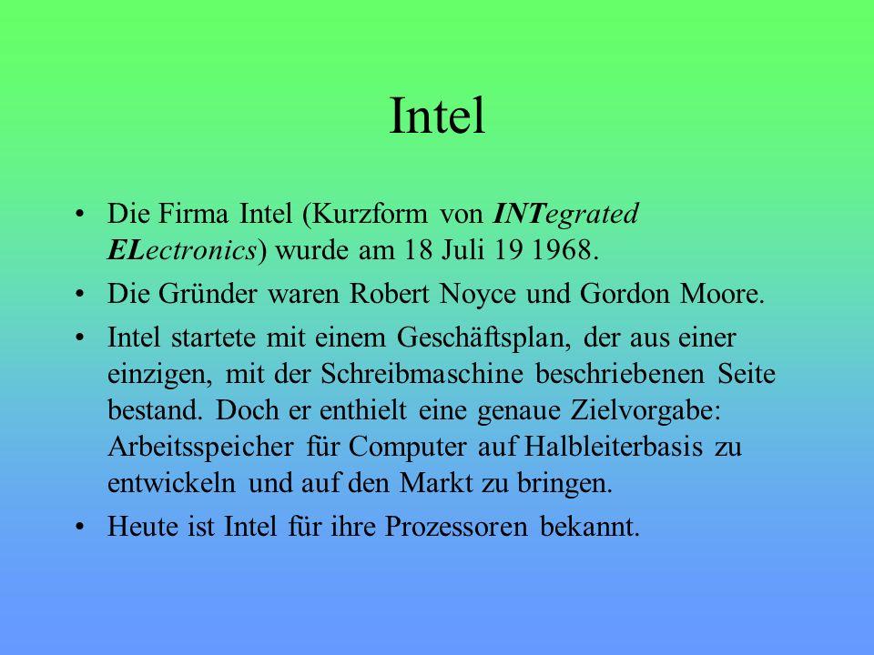 Intel Die Firma Intel (Kurzform von INTegrated ELectronics) wurde am 18 Juli 19 1968.