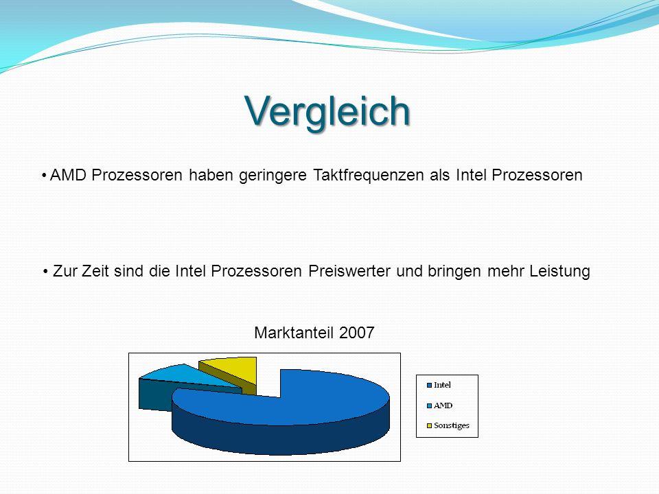 Vergleich AMD Prozessoren haben geringere Taktfrequenzen als Intel Prozessoren Zur Zeit sind die Intel Prozessoren Preiswerter und bringen mehr Leistu