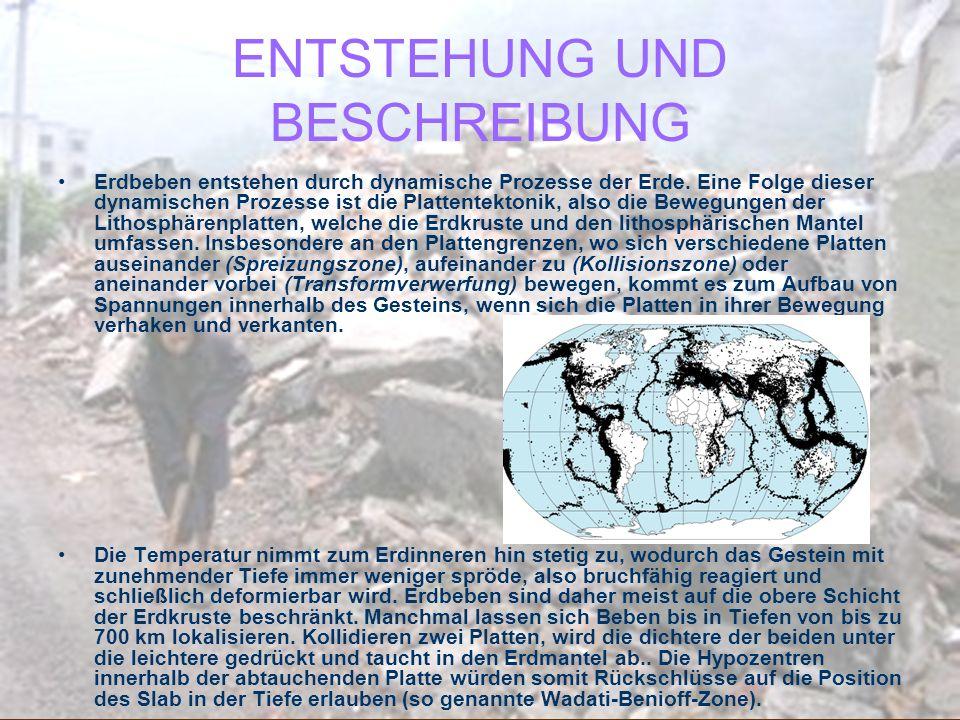 ENTSTEHUNG UND BESCHREIBUNG Erdbeben entstehen durch dynamische Prozesse der Erde. Eine Folge dieser dynamischen Prozesse ist die Plattentektonik, als